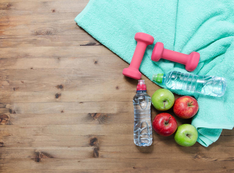 health-lifestyle-weights-water-fruit-apples