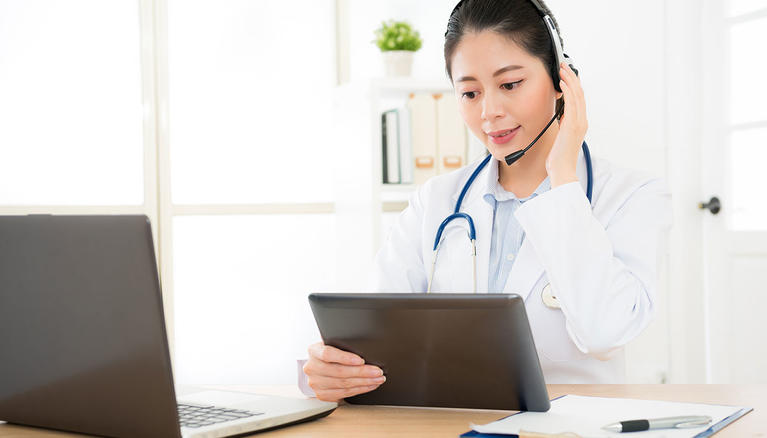 Virtual Clinic Provider With Headset