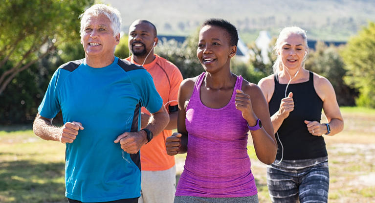 exercise group running outdoors