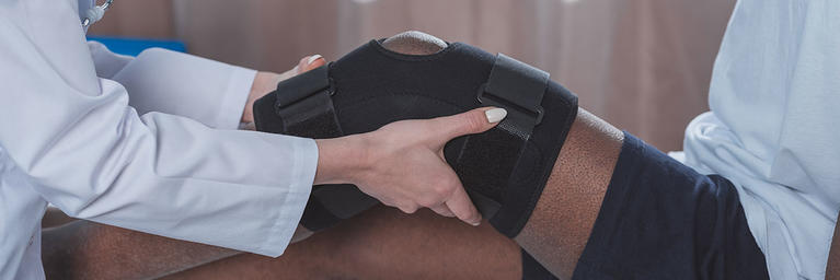 Knee Injury in a Brace