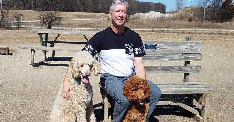 Bob Foster, Patient, and his dogs