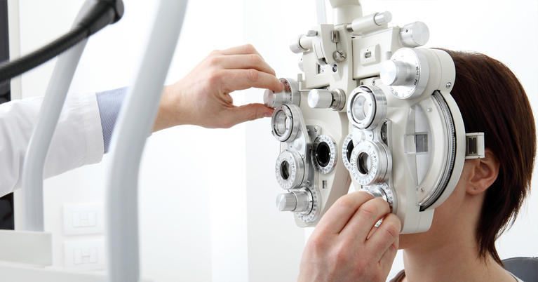 Patient receiving an eye exam
