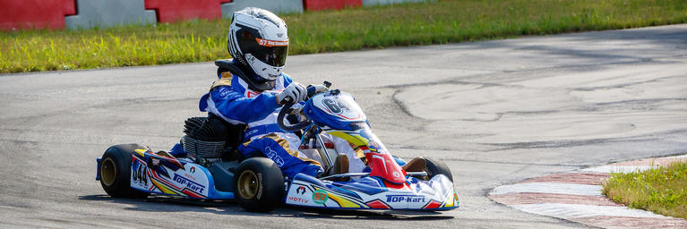 Matt Maier, Patient, on his go-kart