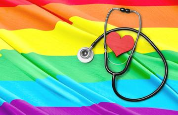 Stethoscope on a rainbow flag